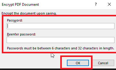 Word doc to password protected PDF