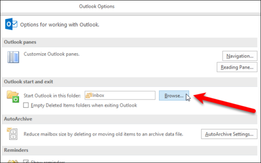 change outlook startup folder