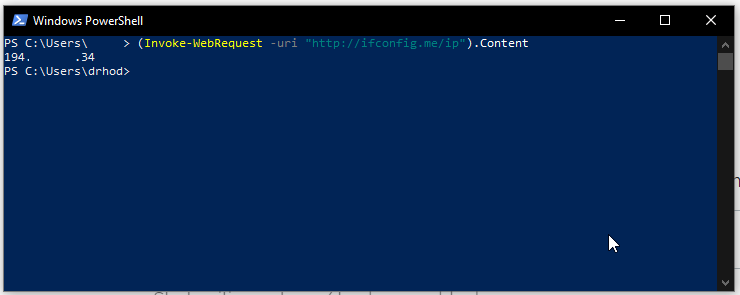 Get your public IP using Powershell