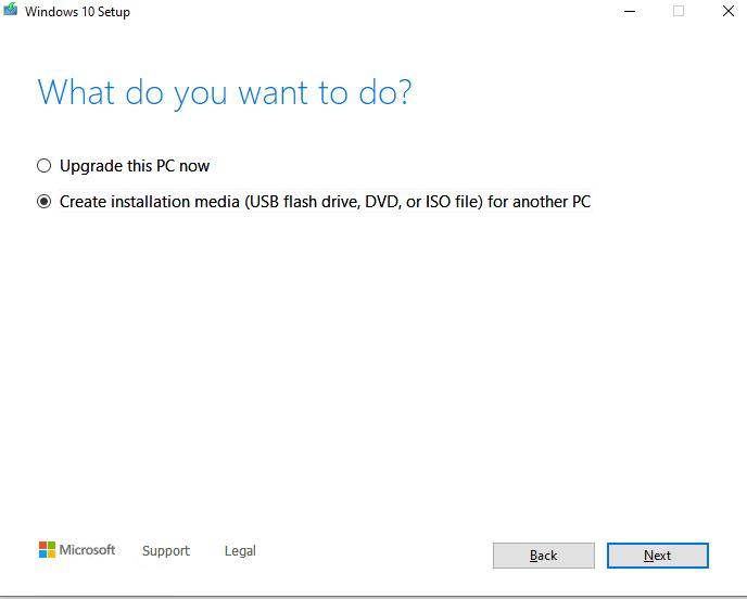 MediaCreationTool Create Windows 10 install media