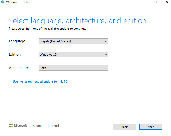 select windows 10 language,edition and architecture