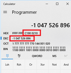 converting dec to hex error code