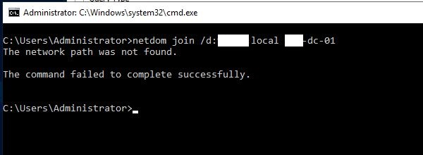 The network path was not found when joining a client to a domain