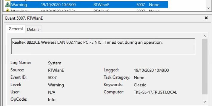 Realtek 8822CE Wireless LAN 802.11ac PCI-E NIC : Timed out during an operation.