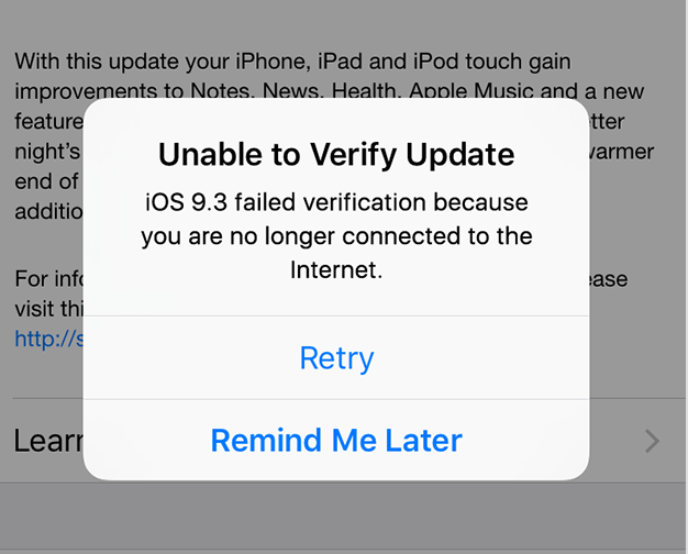 remove an iOS update