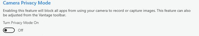 lenovo vantage camera privacy mode