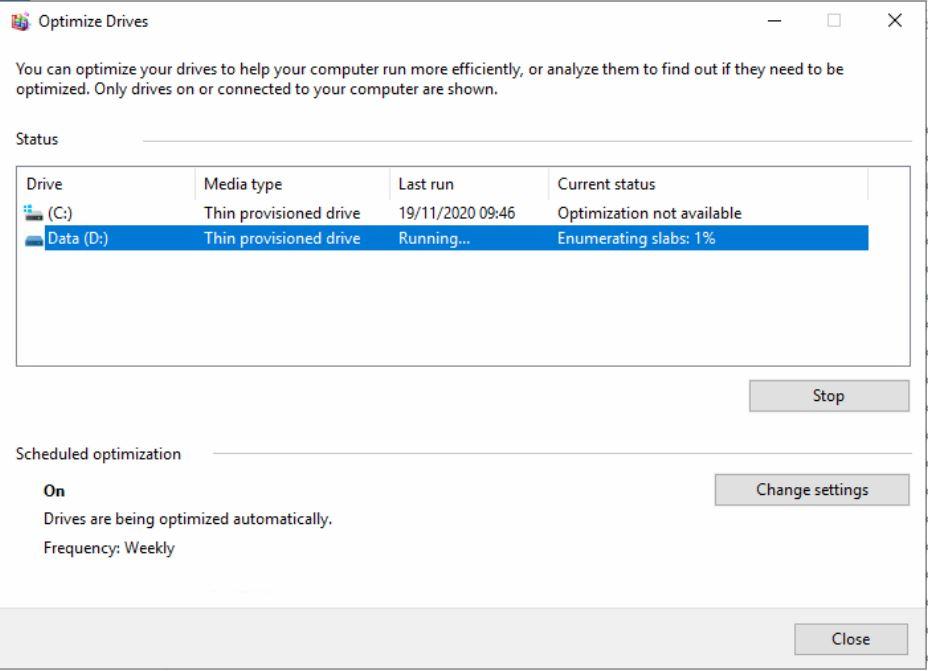 defragsvc very high 100% disk usage